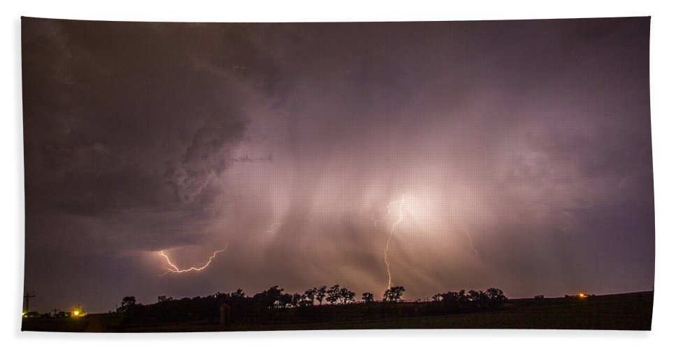 Nebraskasc Beach Towel featuring the photograph Kewl Nebraska Cg Lightning And Krawlers 020 by NebraskaSC