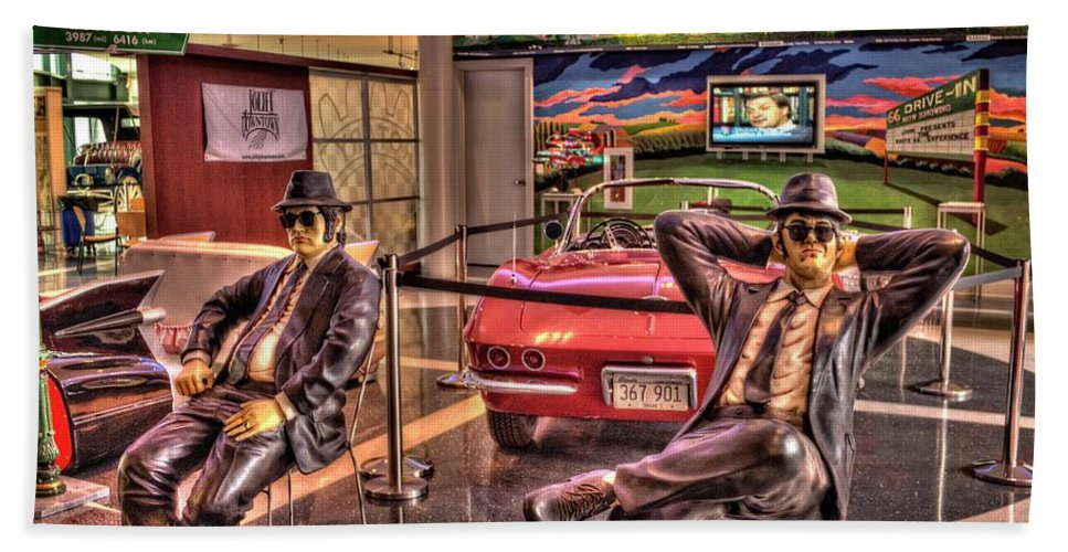 Joliet Beach Towel featuring the photograph Kickin' Beck On Route 66 by Fred Hahn