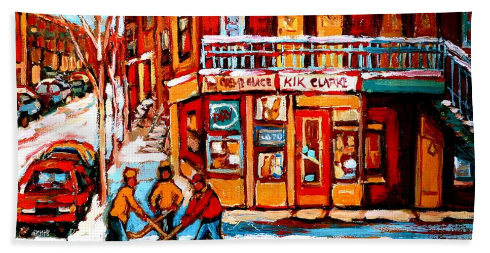 Montreal Streetscene Beach Towel featuring the painting Kik Cola Depanneur by Carole Spandau