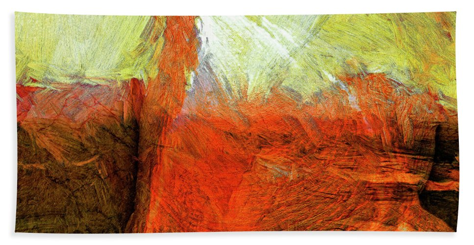 Abstract Beach Towel featuring the painting Kilauea by Dominic Piperata