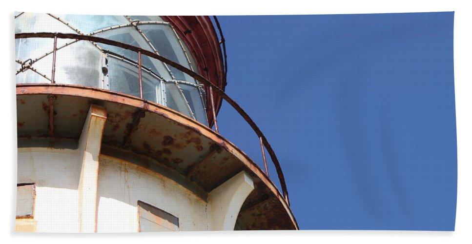 Kilauea Beach Towel featuring the photograph Kilauea Lighthouse Against The Sky by Nadine Rippelmeyer
