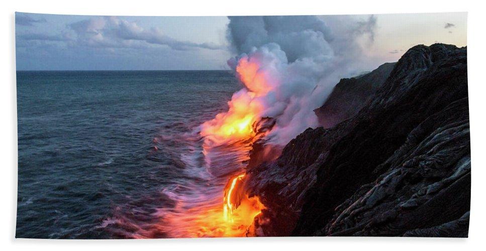 Kilauea Volcano Kalapana Lava Flow Sea Entry The Big Island Hawaii Hi Beach Towel Featuring