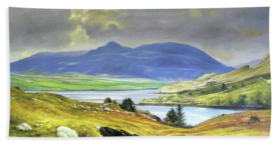 Ireland Beach Towel featuring the painting Killary Harbour County Mayo by Conor McGuire