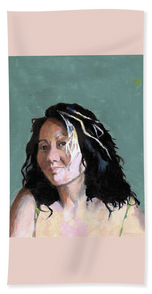 Portrait Beach Towel featuring the painting Kimie In Acrylics by Richard Long