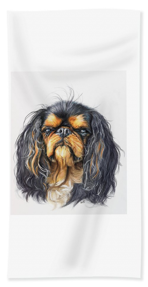 Toy Breed Beach Towel featuring the painting King Charles Spaniel In Watercolor by Barbara Keith