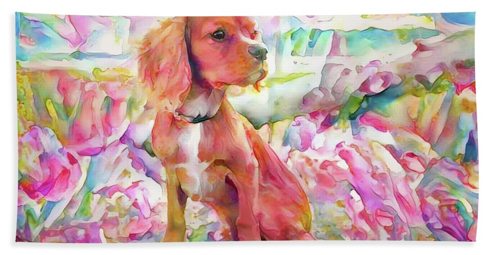 King Charles Spaniel Beach Towel featuring the digital art King Charles Spaniel Pastel Watercolors by Peggy Collins