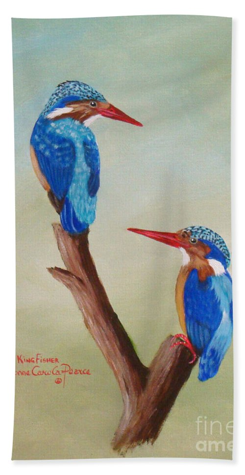 African Birds.  Birds.  King Fisher.  African Widllife. Beach Towel featuring the painting King Fishers by Yvonne Carola-Pearce