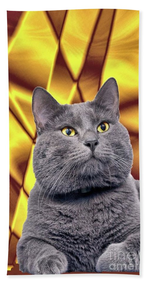 Cat Beach Towel featuring the digital art King Kitty With Golden Eyes by Janette Boyd