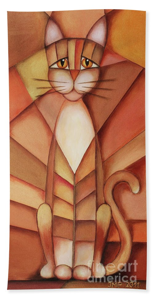 Paint Beach Towel featuring the painting King Of The Cats by Jutta Maria Pusl