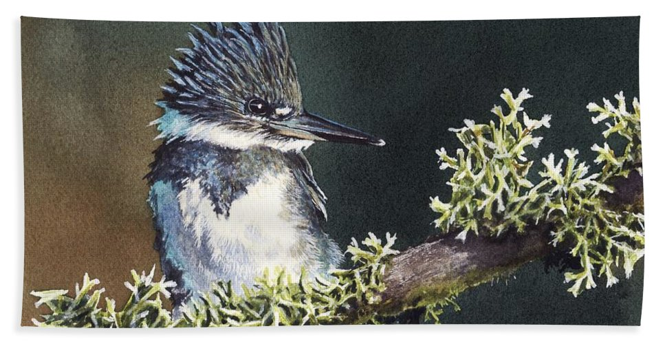 Bird Beach Towel featuring the painting Kingfisher II by Greg and Linda Halom