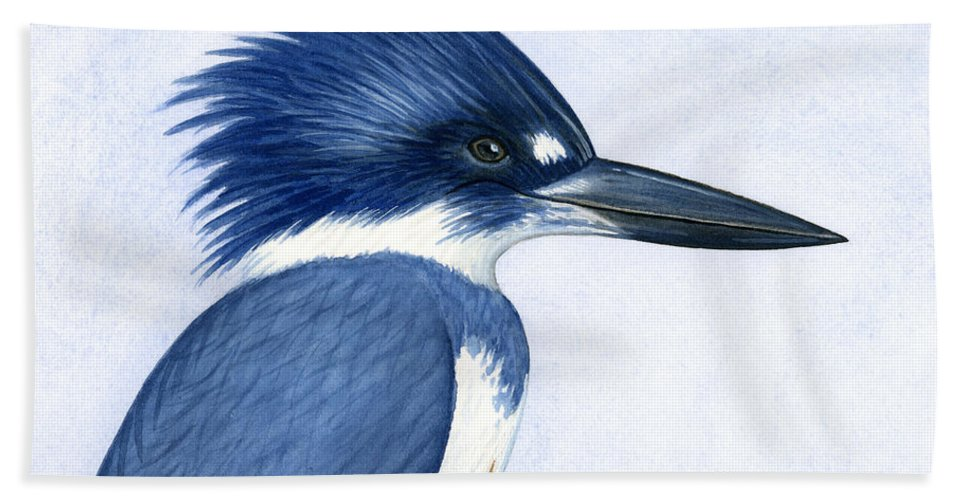 Kingfisher Beach Towel featuring the painting Kingfisher Portrait by Charles Harden