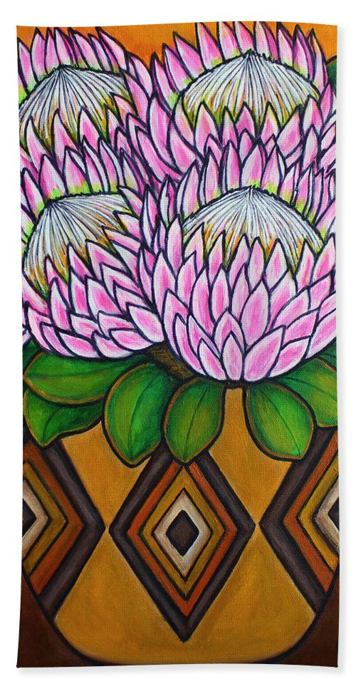 Protea Flower Beach Towel featuring the painting Kings of the Cape by Lisa Lorenz