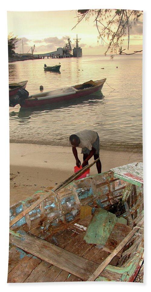 Kingston Beach Towel featuring the photograph Kingston Jamaica Beach by Brett Winn
