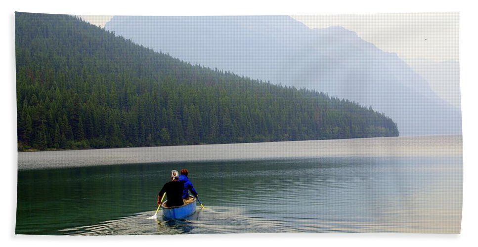 Mountains Beach Towel featuring the photograph Kintla Lake Paddlers by Marty Koch