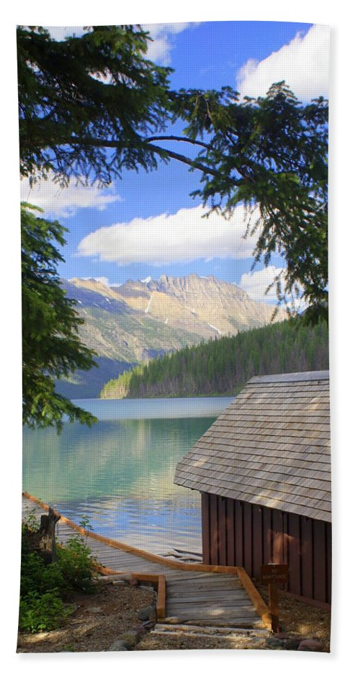 Glacier National Park Beach Towel featuring the photograph Kintla Lake Ranger Station Glacier National Park by Marty Koch