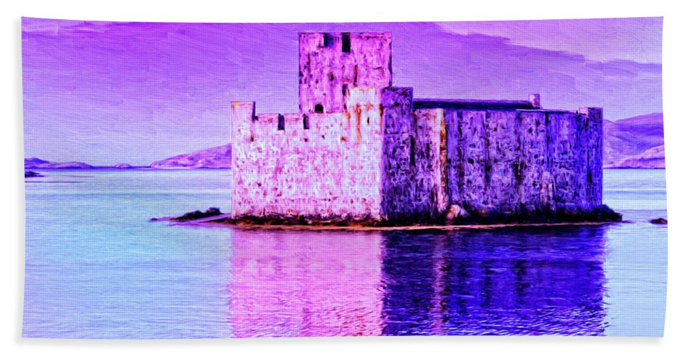 Castle Beach Towel featuring the painting Kisimul Castle by Dominic Piperata