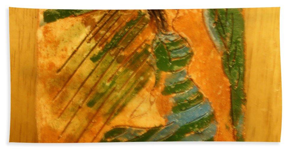 Jesus Beach Towel featuring the ceramic art Kiss Goodbye - Tile by Gloria Ssali