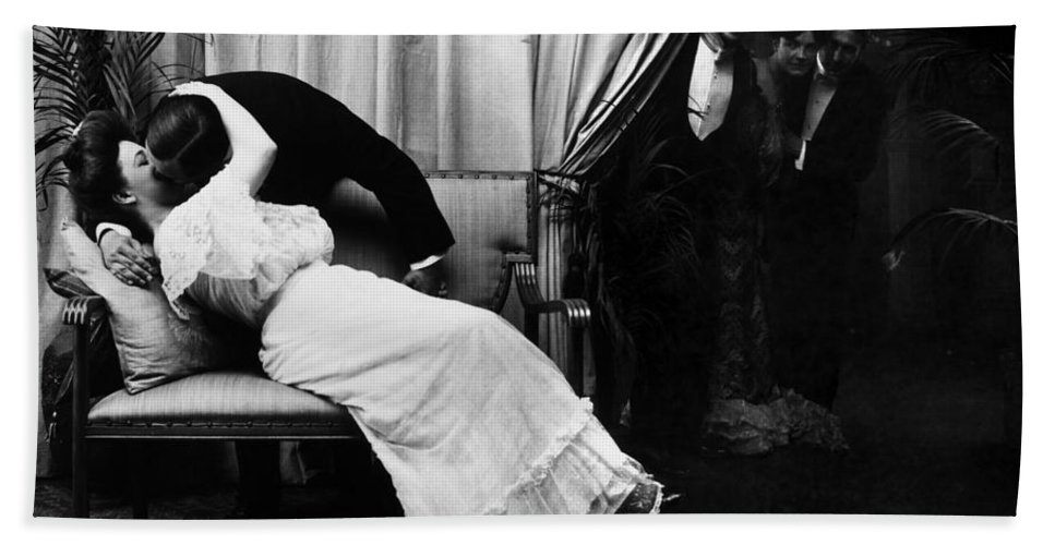 -kissing- Beach Towel featuring the photograph Kissing, C1900 by Granger