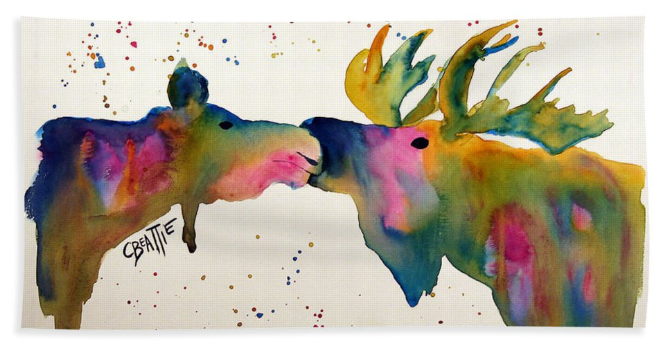 Moose Beach Towel featuring the painting Kissing Moose by Connie Beattie