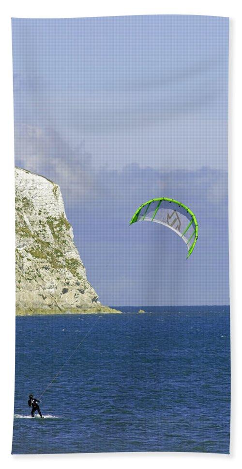Europe Beach Towel featuring the photograph Kitesurfer At Yaverland by Rod Johnson
