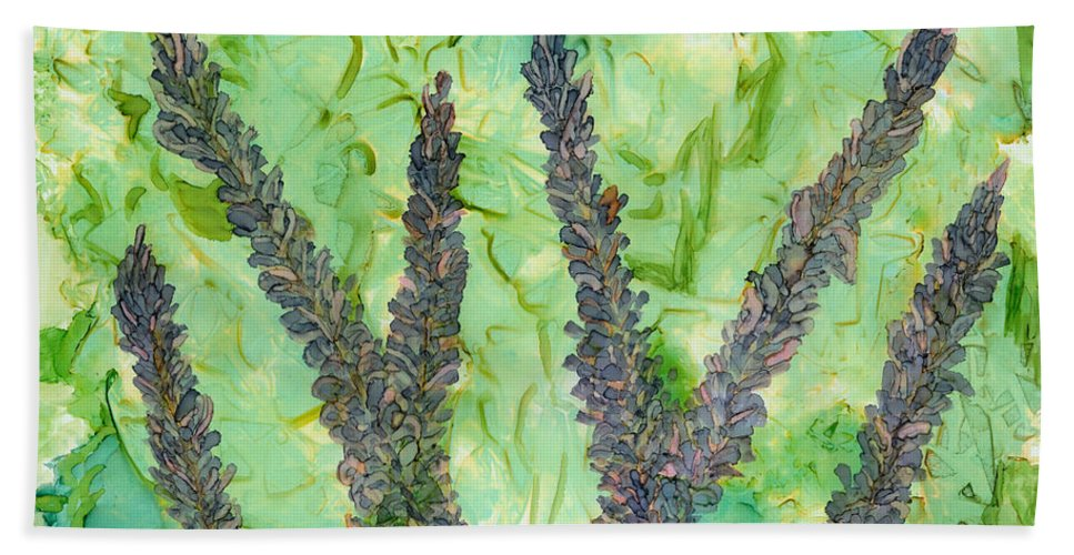 Lupines Beach Towel featuring the painting Kits Garden by Debora Boudreau