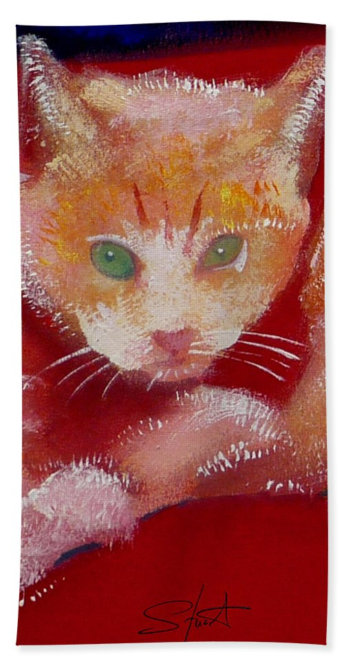Kittens Beach Towel featuring the painting Kitten by Charles Stuart
