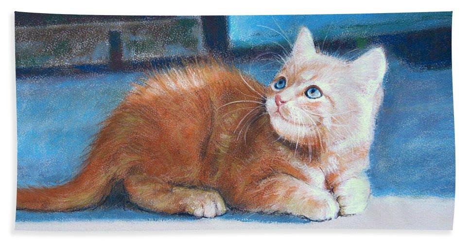 Cats Beach Towel featuring the pastel Kitten by Iliyan Bozhanov