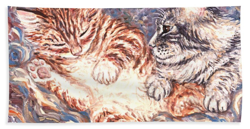 Kittens Beach Towel featuring the painting Kittens Sleeping by Linda Mears
