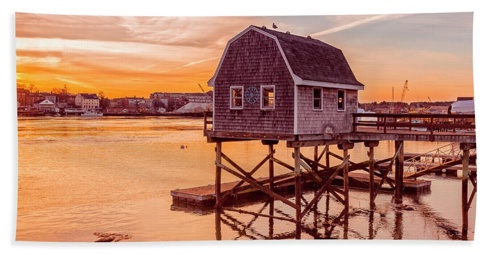 Sunset Beach Towel featuring the photograph Kittery Maine Harbor Sunset by Edward Fielding