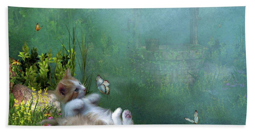 Kittens Beach Towel featuring the mixed media Kitty Wishes by Carol Cavalaris