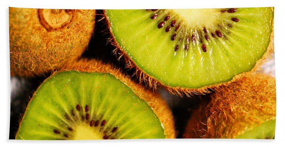 Kiwi Beach Towel featuring the photograph Kiwi Fruit by Nancy Mueller