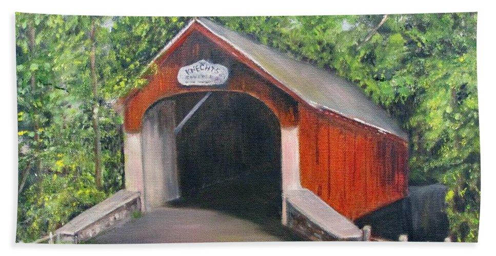 Bridge Beach Towel featuring the painting Knechts Covered Bridge by Loretta Luglio