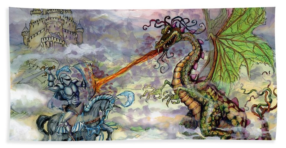 Knight Beach Towel featuring the painting Knights n Dragons by Kevin Middleton