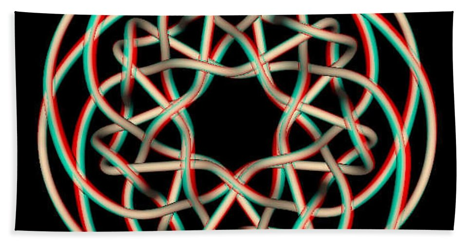 3d Beach Towel featuring the photograph Knotplot 12 - Use Red-cyan 3d Glasses by Brian Wallace