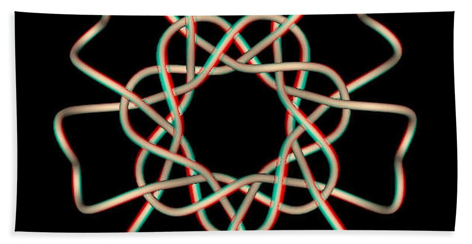 3d Beach Towel featuring the photograph Knotplot 13 - Use Red-cyan 3d Glasses by Brian Wallace