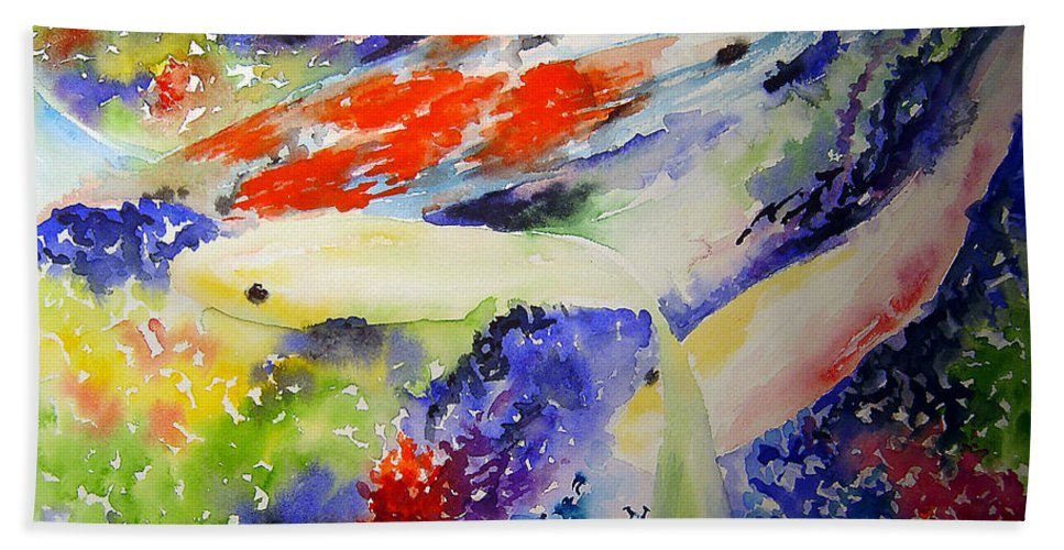 Koi Beach Sheet featuring the painting Koi by Joanne Smoley