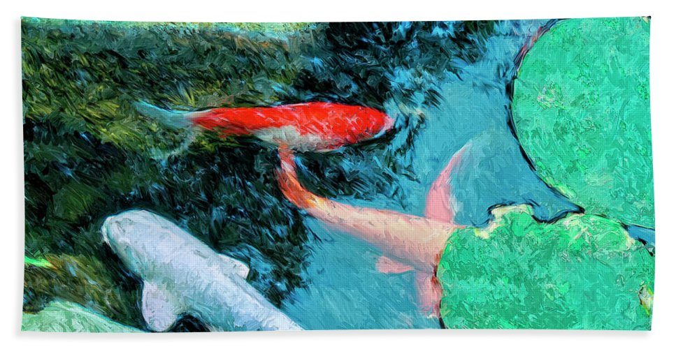 Koi Beach Towel featuring the painting Koi Pond 4 by Dominic Piperata