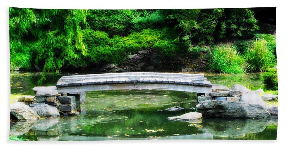 Koi Pond Beach Towel featuring the photograph Koi Pond Bridge - Japanese Garden by Bill Cannon
