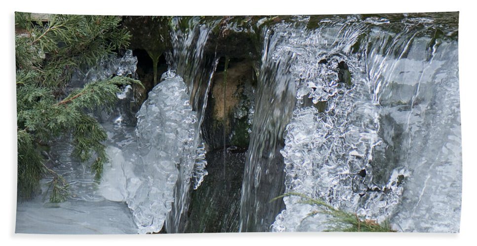 Koi Pond Beach Towel featuring the photograph Koi Pond Waterfall by Steven Natanson