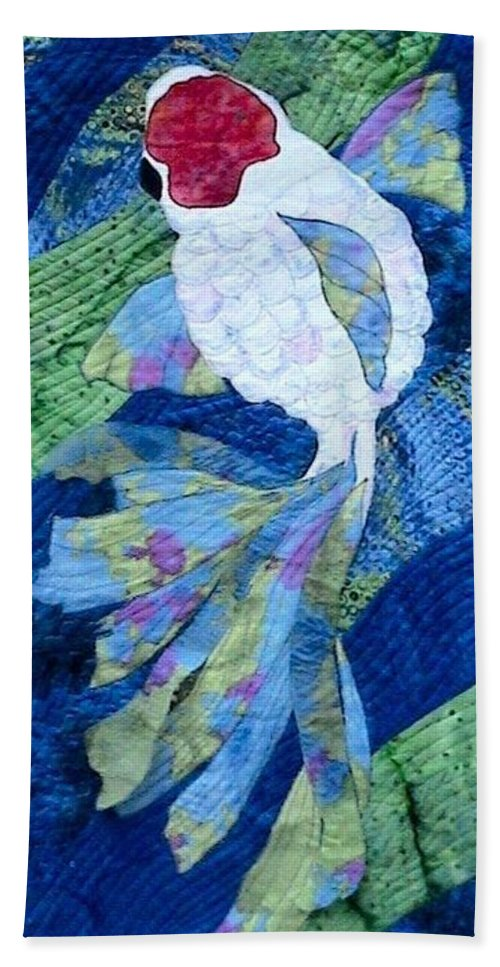 Single Koi Swimming Beach Towel featuring the tapestry - textile Koi Serenity by Dolores Fegan