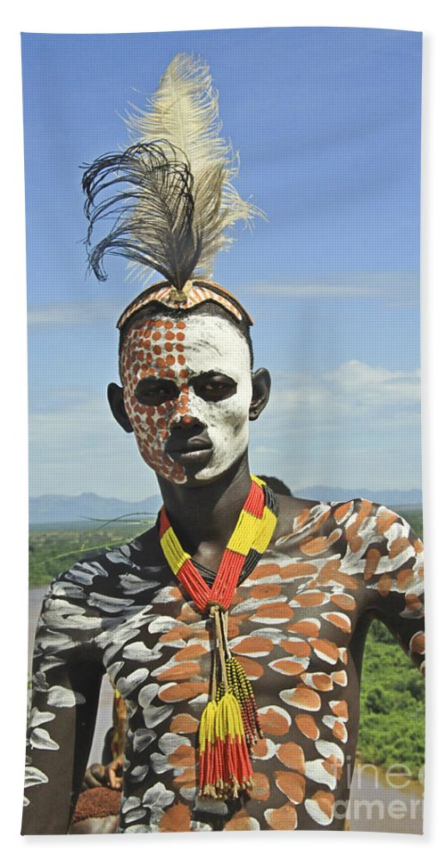 Anthropology Beach Towel featuring the photograph Konso Tribe Man by Gilad Flesch