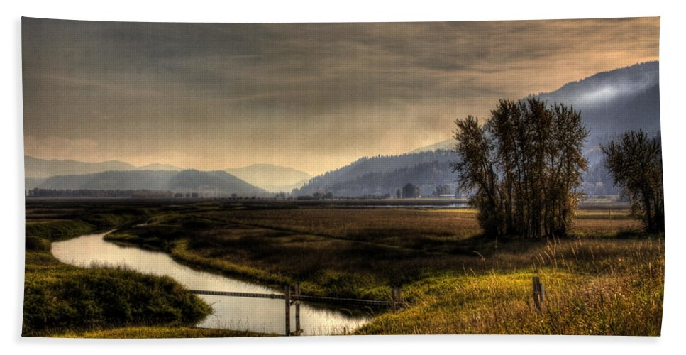Scenic Beach Towel featuring the photograph Kootenai Wildlife Refuge In Hdr by Lee Santa