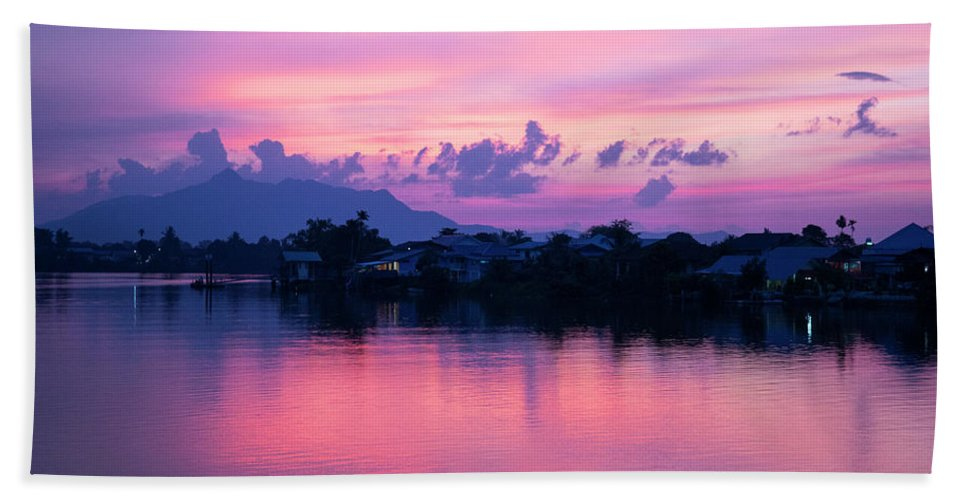 Harbour Beach Towel featuring the photograph Kuching Blue Hour by Louise Welcome