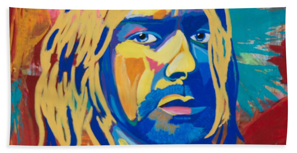 Kurt Cobain Beach Towel featuring the painting Kurt Cobain by Janice Westfall