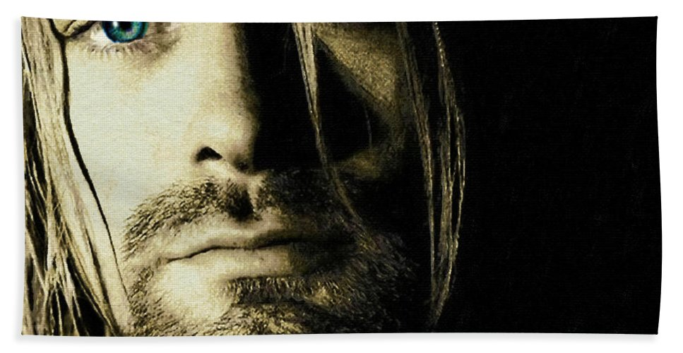 Kurt Cobain Beach Towel featuring the painting Kurt Cobain Nirvana by Tony Rubino