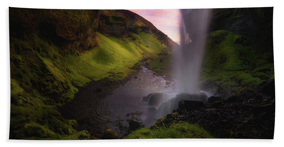 Waterfall Beach Towel featuring the photograph Kvernufoss by Tor-Ivar Naess
