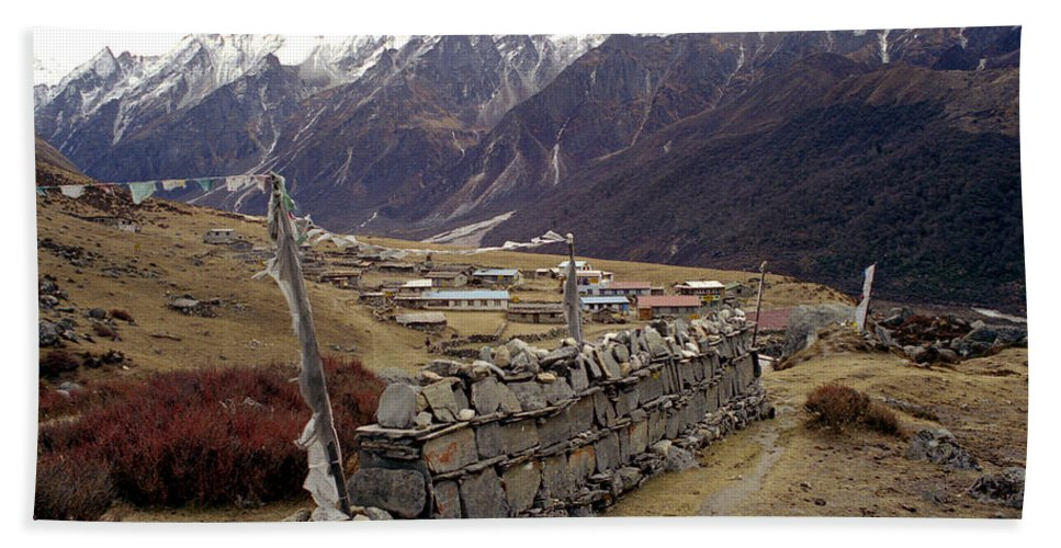 Langtang Beach Towel featuring the photograph Kyanjin Gompa by Patrick Klauss