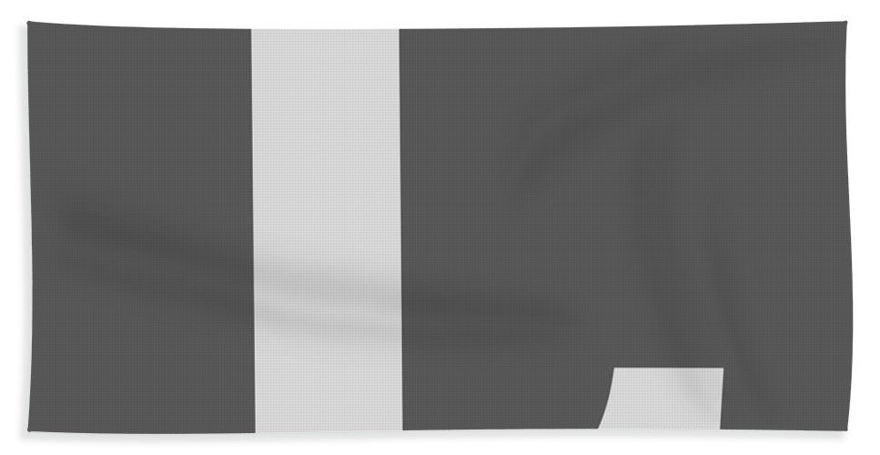 L Beach Towel featuring the digital art L In Light Gray Typewriter Style by Custom Home Fashions