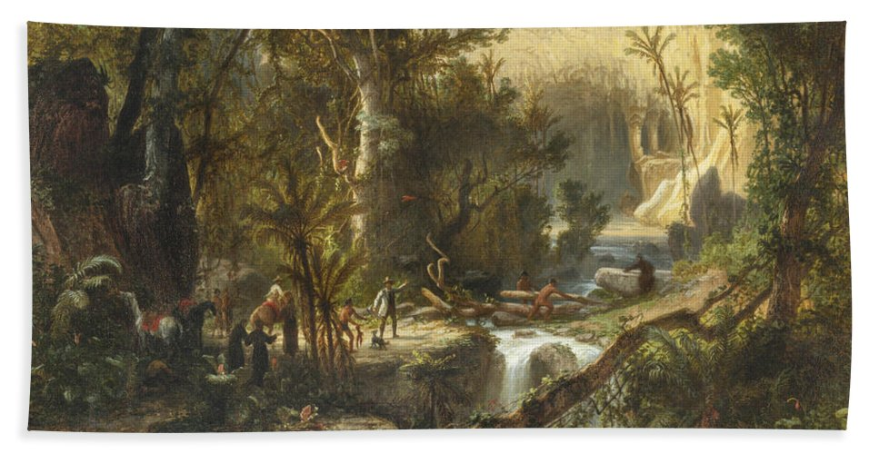 19th Century Art Beach Towel featuring the painting La Cueva Del Guaracho, Venezuela by Ferdinand Bellermann