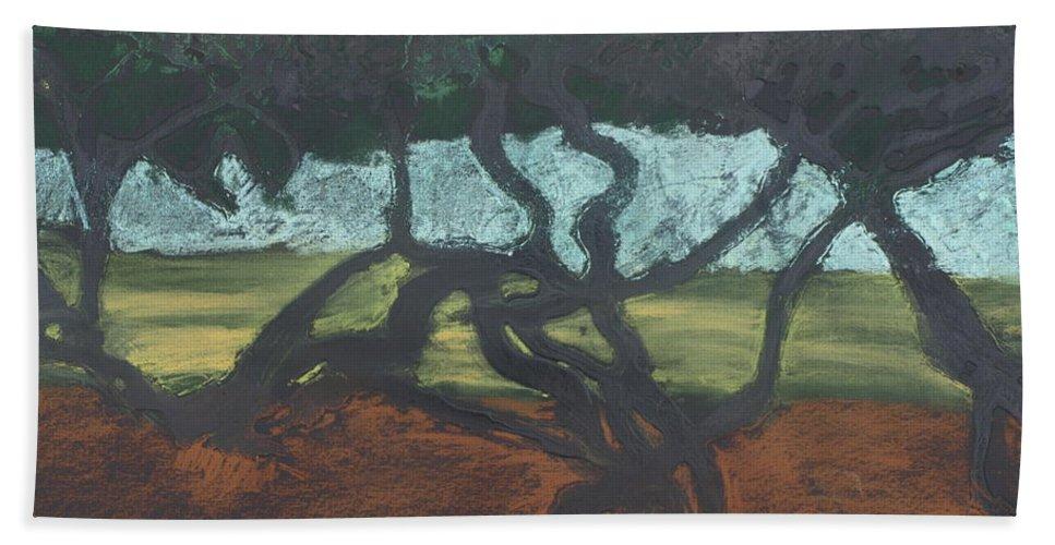 Contemporary Tree Landscape Beach Sheet featuring the mixed media La Jolla II by Leah Tomaino